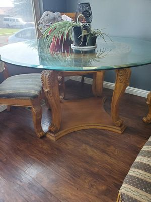 Glass kitchen table with 4 chairs and mirror for Sale in Sandy, UT