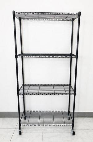 "Brand new $50 Metal 4-Shelf Shelving Storage Unit Wire Organizer Rack Adjustable w/ Wheel Casters 30x14x61"" for Sale in Pico Rivera, CA"