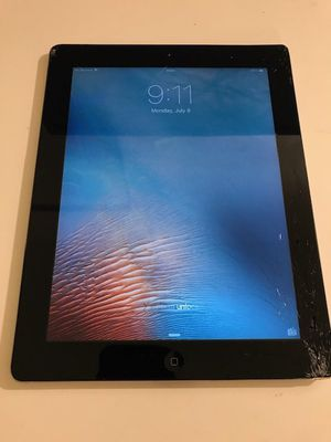ATT Apple iPad 2 64 GB Space Gray Cellular Cracked Screen for Sale in San Jose, CA