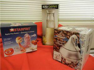 TRIO NEW Kitchen Items Starfrit Apple Peeler+Iced Carafe+Hershey Kisses Fondue for Sale in Peoria, AZ