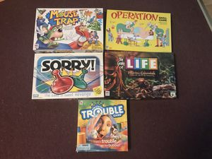 5 Board Games - Mouse Trap, Operation, Sorry, Life & Trouble for Sale in Odenton, MD