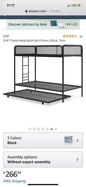 Metal triple bunk bed for Sale in Auburn, GA
