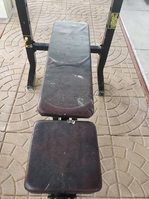 Bench press with curl bar/2 25lb weights for Sale in Denver, CO