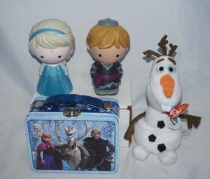 Disney Frozen Elsa & Kristoff Figures Olaf Plush Tin Box 4 Pcs for Sale in Seattle, WA