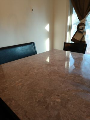 Marble high top table with high chairs. seats 8 people comfortably for Sale in Oakton, VA