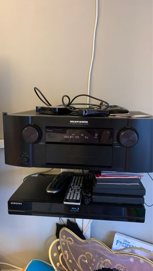 Definitive bi-polar 5 speaker set. 2 towers with built in subs, 2 rears and a center channel. Marantz receiver additionally. for Sale in Brookline, MA