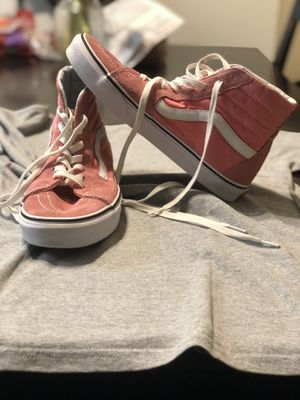 Used Pink/White Sk8-Hi Vans size 9.5 Woman's/8.0 Men's for Sale in Artesia, CA