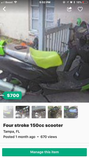 Four stroke 150 cc scooter for Sale in Tampa, FL