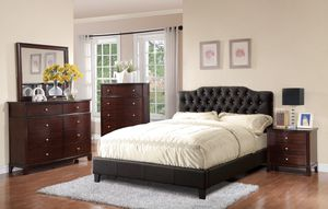 Queen Size Bed Frame, Black Leather Color for Sale in Santa Ana, CA