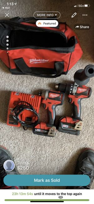 The Milwaukee combo pack of 2 with a hammer and impact drill. Comes with a battery for each drill, one charger, handle for the hammer drill and a Mil for Sale in West Chester, PA