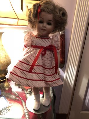 Shirley temple vintage antique porcelain doll - with stand for Sale in Seattle, WA