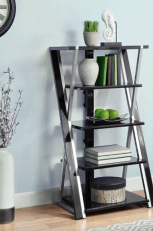 New!! Bookcase, bookshelves, storage unit, shelving display, organizer , metal 5 shelves tempered glass bookcase, tower , audio video tower, living for Sale in Phoenix, AZ