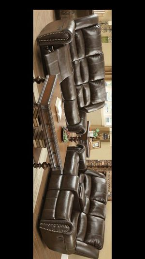 Brown Leather Reclining Living Room Set for Sale in Pflugerville, TX