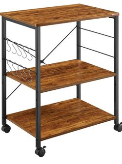3-Tier Kitchen Utility Cart Vintage W/ Rolling Bakers Rack with 10 Hooks for Sale in Los Angeles,  CA