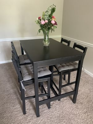 IKEA Tall Table with Chairs and Cushions for Sale in Ashburn, VA
