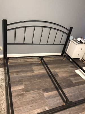 King bed frame and metal headboard for Sale in Saugus, MA
