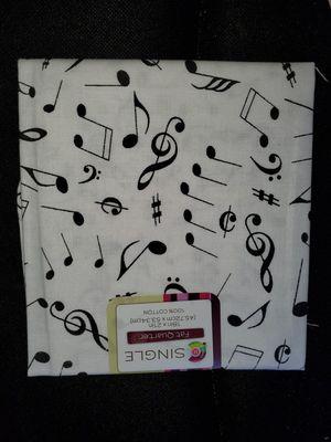 White music note cotton fabric for Sale in Dixon, MO
