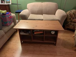 Sturdy Coffee Table- with bookshelves for Sale in Cary, NC