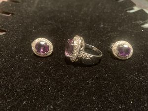 STERLING SILVER AND AMETHYST RING AND EARRINGS SIZE 8.5 for Sale in Providence, RI