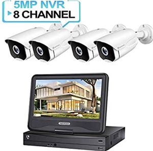 Brand new HM541 5MP PoE Security Camera System with 10 inch LCD Monitor, 8CH NVR 4Pcs Outdoor/Indoor Surveillance Cameras with Night Vision, Waterpro for Sale in Renton, WA