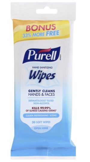PURELL Sanitizing Hand Wipes Kills 99.99% Germs Bacteria - 20 Count for Sale in Puyallup, WA