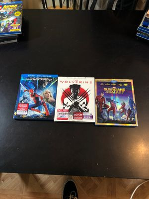 Marvel Blu-ray movies The amazing Spider-Man 2 , The wolverines and guardians of the galaxy. for Sale in Ontario, CA
