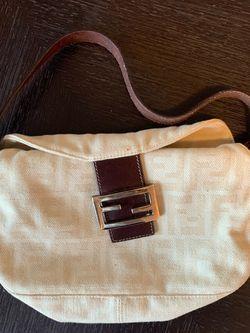 Authentic FENDI Zucca Mamma Canvas Leather Shoulder Bag (Cream White) for Sale in Los Angeles,  CA