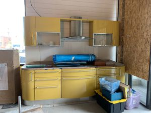Yellow Italian kitchen cabinets with hood never used for Sale in Burbank, CA