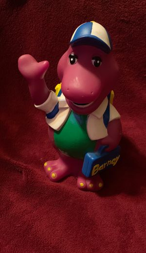 "Nice 7"" BARNEY PURPLE DINOSAUR SCHOOL HOUSE TIME MONEY COIN BANK Plug Provided for Sale in Killeen, TX"
