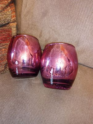 Set of 2 metallic mercury candle holders for Sale in North Royalton, OH