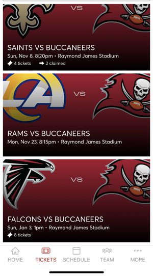 8 Bucs Falcons tickets for Sale in Tampa, FL