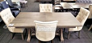 -Formal Dining Set- Grey chic dining table with 4 beige linen chairs- for Sale in Jurupa Valley, CA