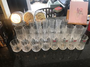 Brand new Cristal Darques glasses, flutes and hurricane glasses for Sale in Fairfax, VA