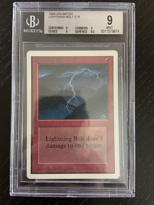 1993 Mtg magic the gathering unlimited lightning bolt bgs 9 mint for Sale in La Mesa, CA