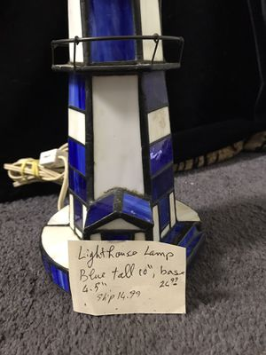 Lighthouse Lamp Blue Stained Glass for Sale in Upland, CA