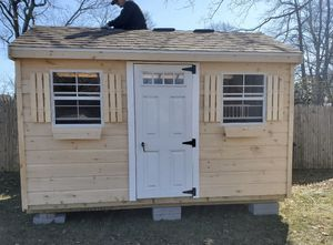 New 8' x 12' Pine A Frame Shed with XL Windows and Fiberglass Door for Sale in East Douglas, MA