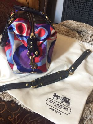 "Authentic Coach Hobo ""convertible"" Handbag. Satin with leather straps. The long strap hides under the purse if you don't want a shoulder bag (& I h for Sale in Wildomar, CA"