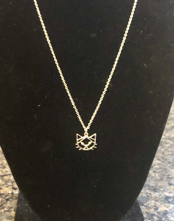 New! Cute! Lauren Conrad silver tone kitten necklace w/ crystal accents. Great gift!