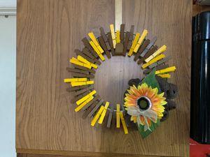 Sunflower clothespin burlap wreath for Sale in Warrenton, VA