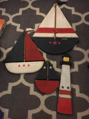 Wooden boat and light house decorations bundle nursery for Sale in Burbank, CA