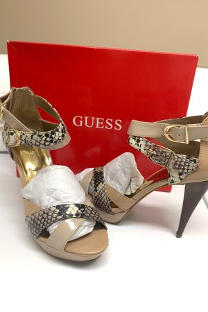 GUESS Natural/ Snakeskin Open Toe Heels Shoes Size 7 for Sale in Las Vegas, NV