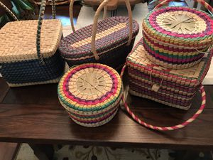 Mexican Colorful Woven Straw Baskets with Lids & Long Handles Storage Container Lot of 5 for Sale in Cypress, TX