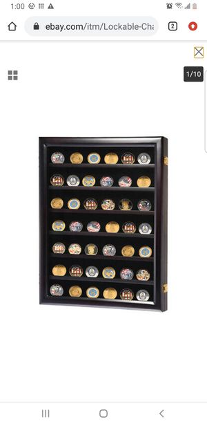 Lockable Challenge Coin Display Wall Cabinet Wood Case Casino Chip Shadow Box for Sale in Lakewood, CA