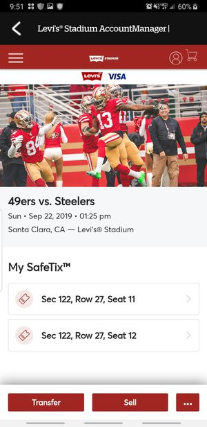 Niners vs Steelers for Sale in Sunnyvale, CA