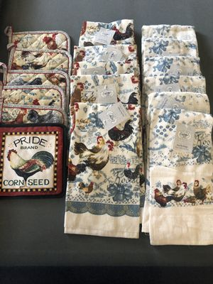 Rooster kitchen towels & pot holders for Sale in Corona, CA