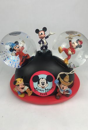 Disney Mickey Mouse Club Double Snow Globe Mouse Ears Hat Musical Retired Rare for Sale in Wallingford, CT