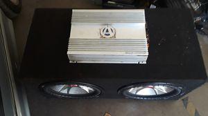"""KICKER 12"""" CVRS SUBWOOFERS WITH 1100 WATT OLD SCHOOL AMPLE AMPLIFIER for Sale in Phoenix, AZ"""