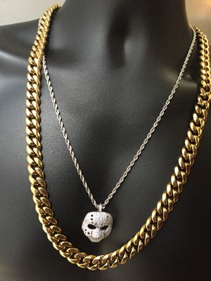 Cyber Monday!! 14KT Gold Filled Cuban Chain and a matching Bracelet. All sizes available!! Best Top Quality!! We do custom work!! for Sale in Seattle, WA