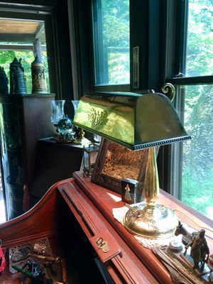 Gorgeous restored, refinished Antique Amronlite Lamp. Works perfectly and it is signed, with pen holder- Brass Dragon appliqués for Sale in Fort Montgomery, NY