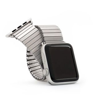 Twist-O-Flex Brushed Stainless Steel, Black and Silver Aluminum Expansion Band for 42mm Apple Watch - Small, Medium and Large - Made by Speidel for Sale in Salt Lake City, UT